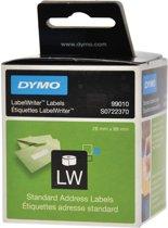 4x Dymo etiketten LabelWriter 89x28mm, wit, 260 etiketten