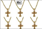 6x Ketting met kruis goud + strass stenen
