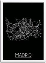 DesignClaud Madrid Plattegrond poster Zwart A4 + Fotolijst wit