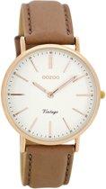 OOZOO Vintage C8140 horloge - rozegrijs wit roségoudkleurig 36mm