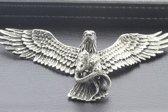 Zilveren Adelaar met slang beweegbare vleugels XL ketting hanger