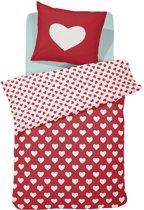 Damai Hearts Dekbedovertrek - eenpersoons - 120 x 150 - Rood