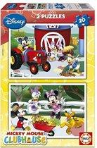 Educa Mickey op de tractor - 2 x 20 stukjes