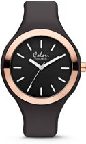 Colori Macaron 5 COL487 Horloge - Siliconen Band - Ø 30 mm - Zwart / Rosékleurig