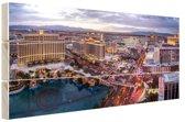 Centrum Las Vegas Hout 80x60 cm - Foto print op Hout (Wanddecoratie)