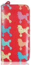 Amelie Gekleurde POEDELS Canvas Portemonnee met rits Poedel Vintage Look Fuchsia