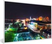 Foto in lijst - Downtown van Baton Rouge in de Verenigde Staten tijdens de nacht fotolijst wit 60x40 cm - Poster in lijst (Wanddecoratie woonkamer / slaapkamer)