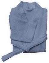 Comfortabel Wafel Badjas Katoen Blauw | Maat L | Met Een Luxe Wafelstructuur | Lang Model