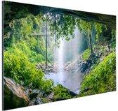 Foto van regenwoud met waterval Aluminium 60x40 cm - Foto print op Aluminium (metaal wanddecoratie)