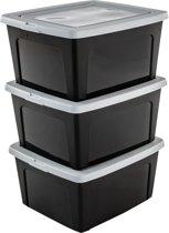 IRIS Modular Clear Box Opbergbox - 18 l - Kunststof - Zwart/Grijs - 3 stuks