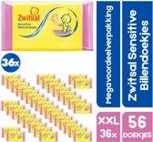XXL megavoordeelverpakking 36 x 57 | Zwitsal Sensitive billendoekjes | 36 x 57 billendoekjes Zwitsal Sensitive voor Baby | voordeelverpakking