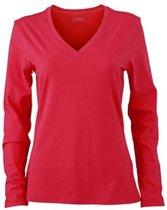Roze dames v-hals shirt lange mouw S
