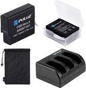 PULUZ 4 in 1 AHDBT-501 3.85V 1220mAh Battery + AHDBT-501 3-channel Battery Charger +  Mesh Storage Bag + Battery Storage Box Kit voor GoPro HERO5