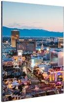 Las Vegas Strip Avond Aluminium 80x120 cm - Foto print op Aluminium (metaal wanddecoratie)