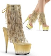 EU 38 = US 8 | ADORE-1017RSFT | 7 Heel, 2 3/4 PF Open Toe/Heel Lace-Up Fringe Ankle Boot
