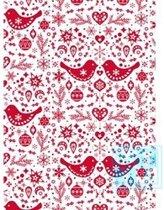 Cadeaupapier kerstmis: K691558 Folk Christmas Red - Toonbankrol breedte 50 cm