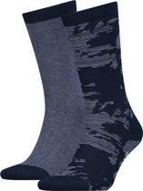 Levis - Unisex 2-Pack Camo Micro Stripe Sokken Blauw - 43-46