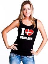 Zwart I love Denemarken supporter singlet shirt/ tanktop dames - Deens shirt dames XL
