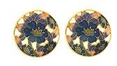 Behave® Dames Clip oorbel rond goud-kleur blauwe bloemen