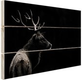 Hert zwart-wit  Hout 30x20 cm - Foto print op Hout (Wanddecoratie)