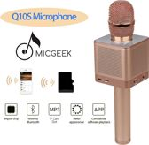 MicGeek Q10S - Karaoke Microfoon - met bluetooth en geïntegreerde speakers (3x 5 Watt) - Rose Gold / Roze Goud