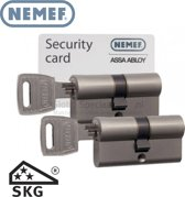 Nemef 142 9 Veiligheids Cilinderslot voor buitendeuren 2 stuks gelijksluitend met kerntrekbeveiliging en anti slagpick SKG Security Card