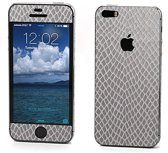 Xssive Sticker wrap Slangen Print Zilver voor Apple iPhone 5 / 5s / SE Duo Pack - 2 stuks