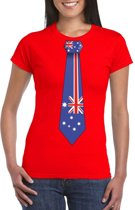 Rood t-shirt met Australie vlag stropdas dames 2XL