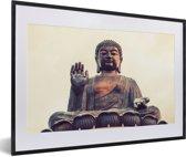Foto in lijst - De Tian Tan Boeddha van dichtbij tijdens zonsondergang fotolijst zwart met witte passe-partout 60x40 cm - Poster in lijst (Wanddecoratie woonkamer / slaapkamer)