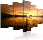 Schilderij - Zonsondergang, Geel, 5luik