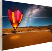 FotoCadeau.nl - De sterrenhemel boven de woestijn Hout 80x60 cm - Foto print op Hout (Wanddecoratie)