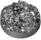 Druzy Cabochon (14 mm) Silver Black (5 Stuks)