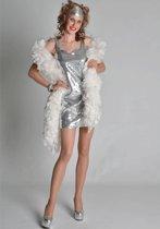 Zilver pailletten dames jurkje 38 (M)