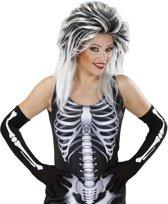 Lange skelethandschoenen voor volwassenen - Verkleedattribuut