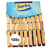 Sorbo wasknijpers hout - 108 stuks - knijpers / wasspelden