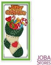 """Borduur Pakket """"JobaStores®"""" Kerst Sok 11CT voorbedrukt (24x48cm)"""