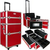 Aluminium make-up / visagie/ nagel trolley 3 in 1 - croco rood