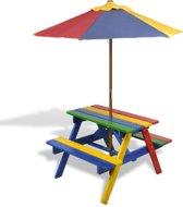 Kindertuinbank - kindertuinbankje tuinbankje tuinbank voor kinderen gekleurd met parasol picnictafel kinderpicnictafel