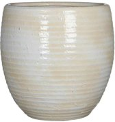 Mica Decorations - ingmar pot gebroken wit geribbeld - maat in cm: 27 x 27