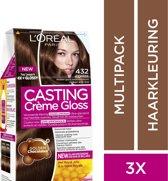 L'Oréal Paris Casting Crème Gloss Haarverf - 432 Marron Supreme - 3 stuks Voordeelverpakking