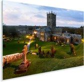St David's kathedraal omringt door landschap in Wales Plexiglas 90x60 cm - Foto print op Glas (Plexiglas wanddecoratie)