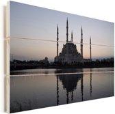 De Sabanci Moskee tijdens de zonsopkomst in Adana Vurenhout met planken 120x80 cm - Foto print op Hout (Wanddecoratie)