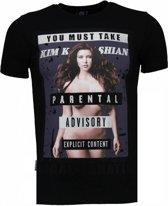 Local Fanatic Kim Kardashian - Rhinestone T-shirt - Zwart - Maten: XL
