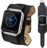 WideFlex Eco Leer Armband voor Fitbit Blaze - Zwart