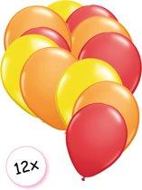 Ballonnen Geel, Oranje & Rood 12 stuks 27 cm