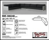 RHS300240links Beschermhoes voor een hoek-loungebank 300 x 240 x 100 H: 70 cm taupe