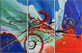 Schilderij modern abstract 3 luik 90x60 Artello - Handgeschilderd - Woonkamer schilderij - Slaapkamer schilderij - Canvas - Modern