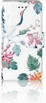 iPhone X | Xs Bookcase met ruimte voor pasjes Bird Flowers