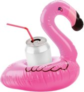 Opblaasbare flamingo drankhouder 16 cm - Opblaasbare tropische blikjes houder 16 cm