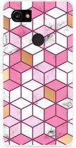 Pixel 2 XL Hoesje Pink-gold-white Marble